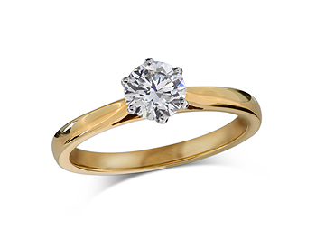 18 carat yellow gold set single stone diamond engagement ring, with a certificated brilliant cut, in a six claw setting.