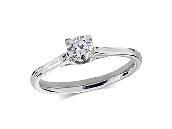 A 0.40ct, Brilliant, F, Single stone diamond ring. You can buy online or reserve online and view in store at Jamieson and Carry, Aberdeen