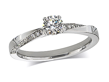 Platinum set single stone diamond engagement ring, with a certificated brilliant cut centre in a four claw setting, and diamond set shoulders. Total diamond weight: 0.59ct.