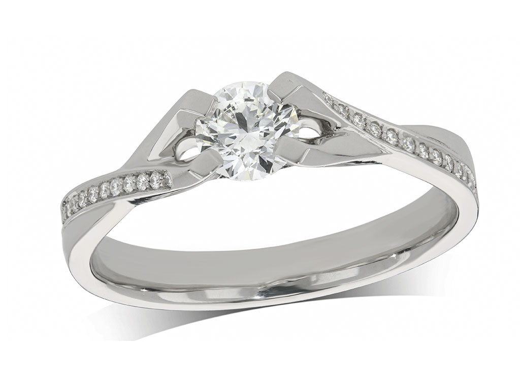 Platinum set single stone diamond engagement ring, with a certificated brilliant cut centre in a four claw setting, and diamond set twist shoulders. Perfect fit with a wedding ring. Total diamond weight: 0.46ct.
