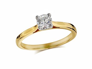 18 carat yellow gold set single stone diamond engagement ring, with a certificated brilliant cut, in a four claw setting.