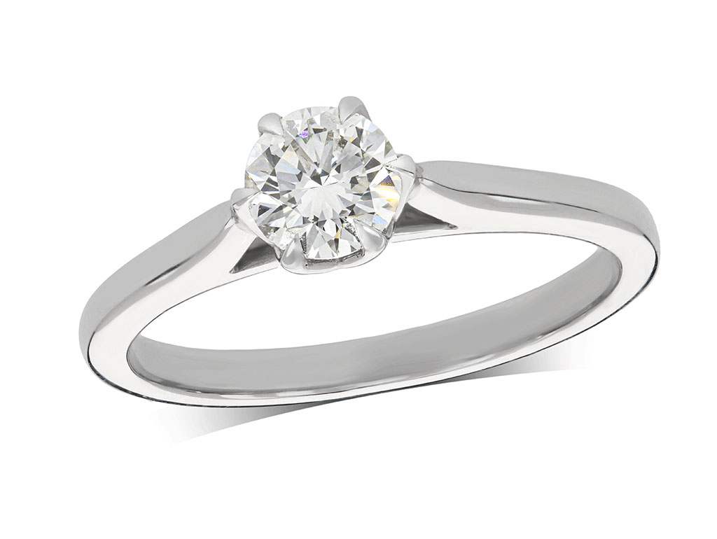 Platinum set single stone diamond engagement ring, with a certificated brilliant cut centre in a four claw setting. Perfect fit with a wedding ring. Total diamond weight: 0.50ct.
