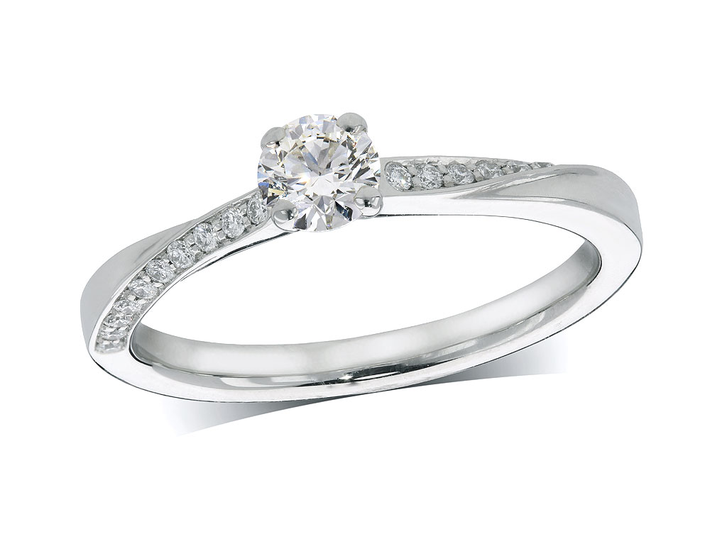 Platinum set single stone diamond engagement ring, with a certificated brilliant cut centre in a four claw setting, and diamond set shoulders. Perfect fit with a wedding ring. Total diamond weight: 0.38ct.