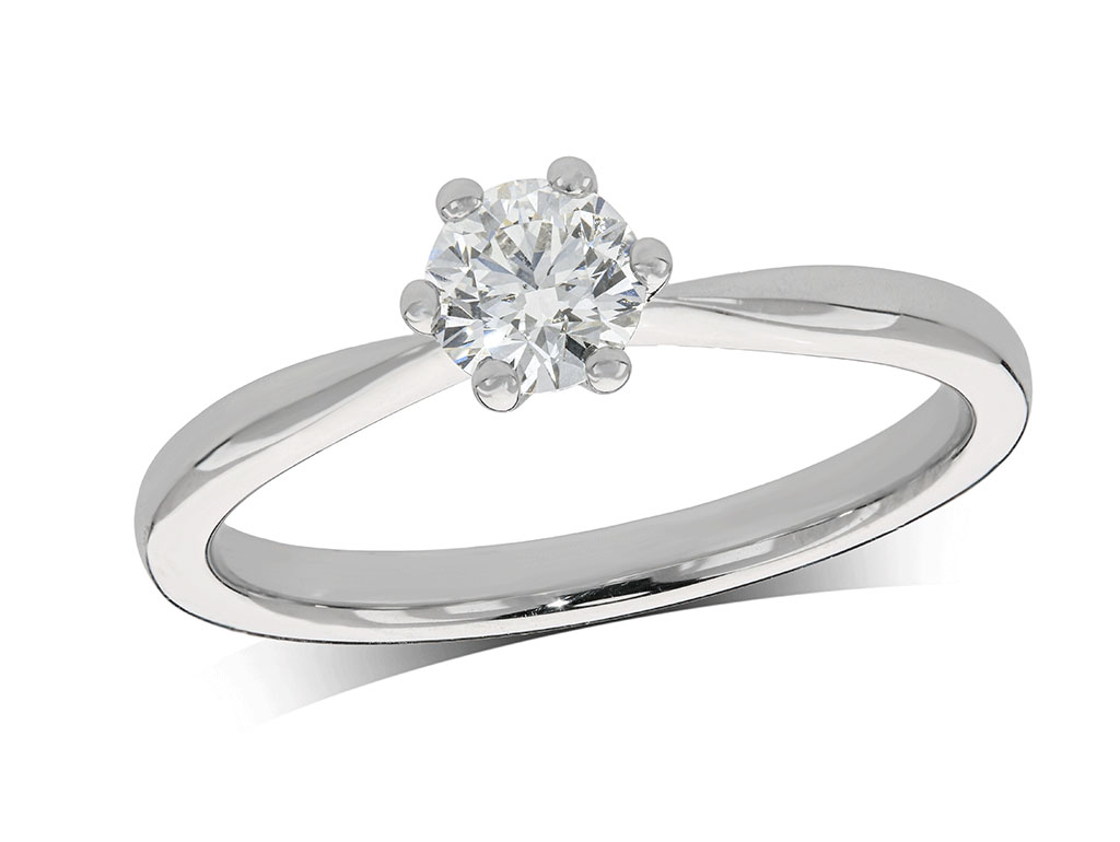 Platinum set single stone diamond engagement ring, with a certificated brilliant cut centre in a six claw setting. Perfect fit with a wedding ring. Total diamond weight: 0.40ct.