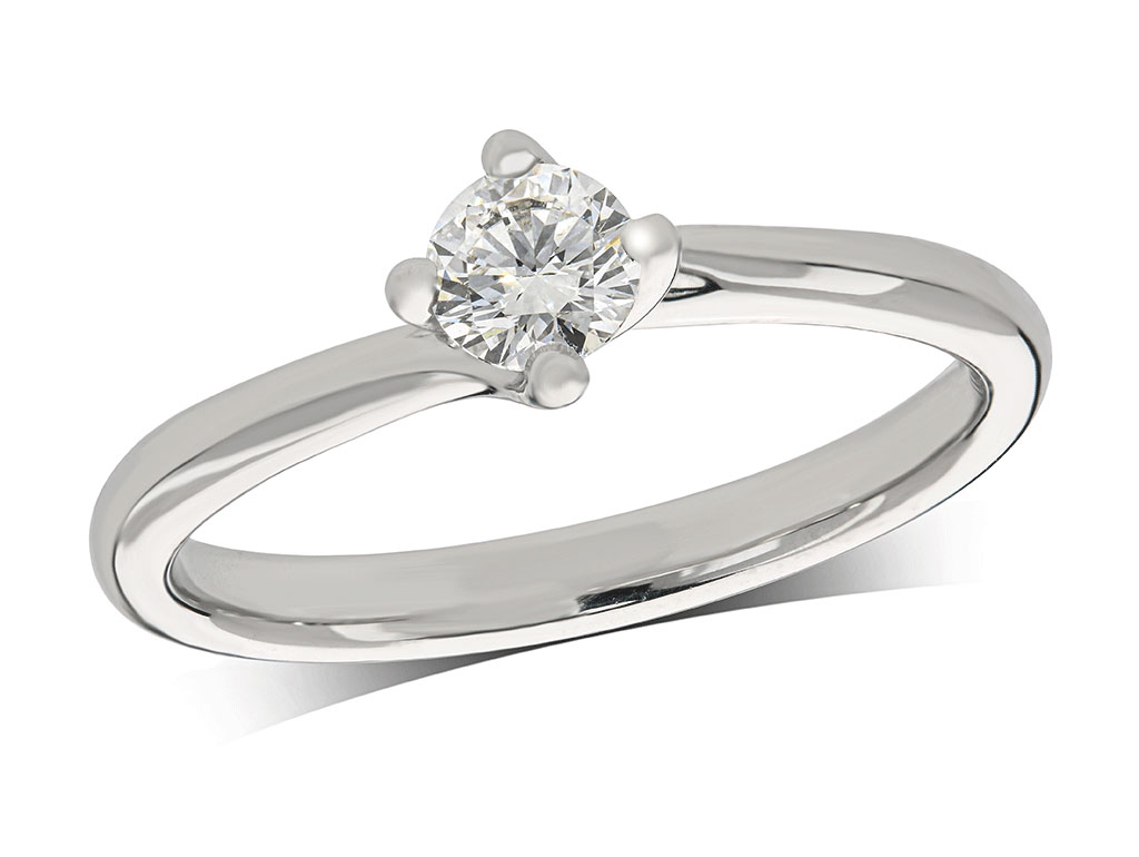 Platinum set single stone diamond engagement ring, with a certificated brilliant cut centre in a four claw setting. Perfect fit with a wedding ring. Total diamond weight: 0.30ct.