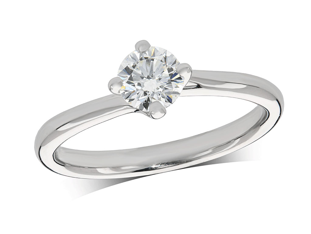 Platinum set single stone diamond engagement ring, with a certificated brilliant cut centre in a four claw setting. Perfect fit with a wedding ring. Total diamond weight: 0.52ct.