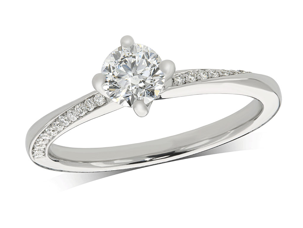 Platinum set single stone diamond engagement ring, with a certificated brilliant cut centre in a four claw setting, and diamond set twist shoulders. Total diamond weight: 0.50ct.
