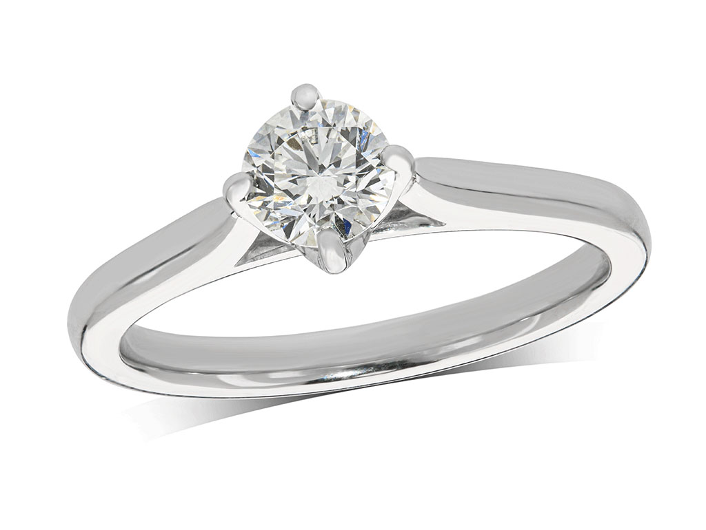 Platinum set single stone diamond engagement ring, with a certificated brilliant cut centre in a four claw setting. Total diamond weight: 0.50ct.