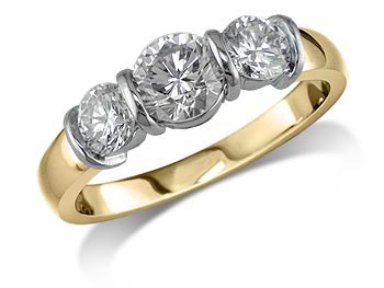 18 carat yellow gold set three stone diamond engagement ring, with a certificated brilliant cut centre in a bar setting, and one brilliant cut on each shoulder. Total diamond weight: 1.54ct.