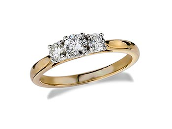 18 carat yellow gold set three stone diamond engagement ring, with a certificated brilliant cut centre in a four claw setting, and one brilliant cut on each shoulder. Perfect fit with a wedding ring. Total diamond weight: 0.50ct.