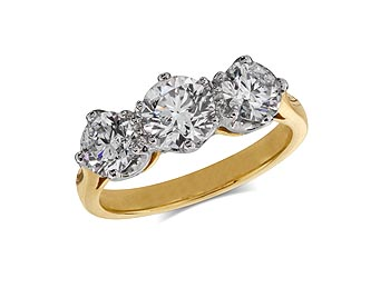 18 carat yellow gold set three stone diamond engagement ring, with a certificated brilliant cut centre in a claw setting, and one brilliant cut on each shoulder. Total diamond weight: 2.05ct.