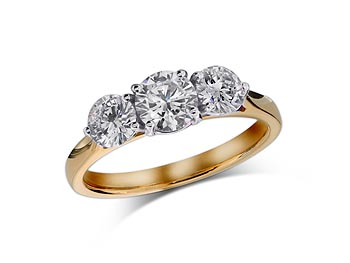 18 ct yellow gold set three stone diamond engagement ring, with a certificated brilliant cut centre in a four claw setting, and one brilliant cut on each shoulder. Total diamond weight: 1.03ct.