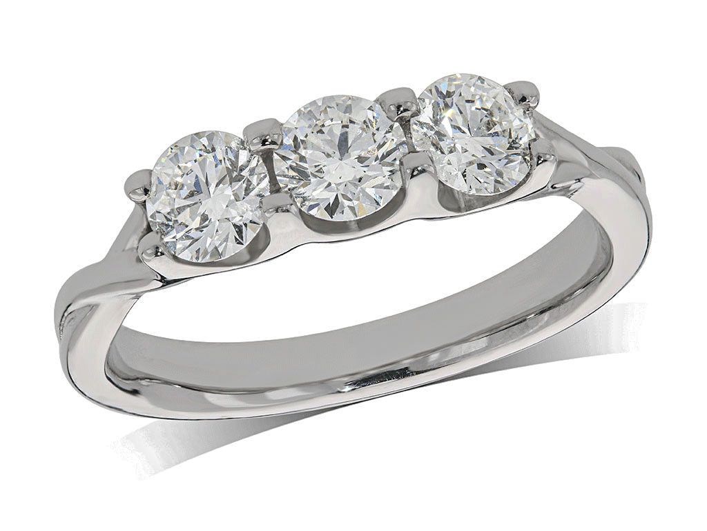 Platinum set three stone diamond engagement ring, with a certificated brilliant cut centre in a four claw setting, and one brilliant cut on each shoulder. Perfect fit with a wedding ring. Total diamond weight: 0.92ct.