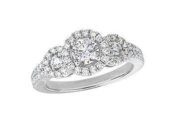 Platinum set three stone diamond engagement ring, with a certificated brilliant cut centre in a four claw setting, and one brilliant cut on each shoulder, each with a surrounding diamond set cluster and diamond set shoulders. Total diamond weight: 0.88ct.