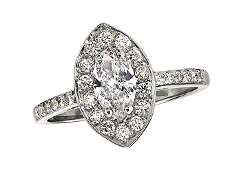 Platinum set diamond cluster engagement ring, with a certificated marquise cut centre in a four claw setting, with a surrounding diamond set bezel and diamond set shoulders. Total cluster diamond weight: 0.89ct.