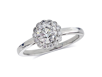 A 0.60ct centre, Brilliant, F, Cluster diamond ring. You can buy online or reserve online and view in store at Jamieson and Carry, Aberdeen