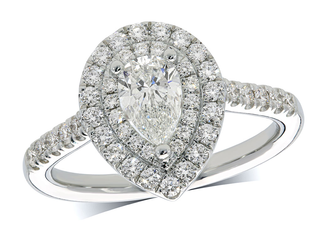 Platinum cluster diamond engagement ring, with a certificated pear cut centre in a three claw setting, with a surrounding double row diamond set bezel and diamond shoulders. Perfect fit with a wedding ring. Total cluster diamond weight: 1.02ct.