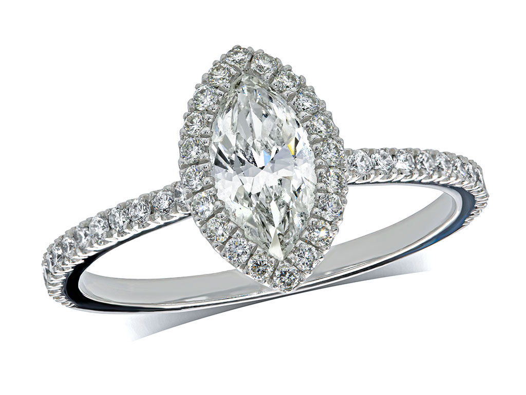 Platinum set diamond cluster engagement ring, with a certified marquise cut centre in a claw setting, with a surrounding diamond set bezel and diamond set shoulders. Total cluster diamond weight: 0.88ct.