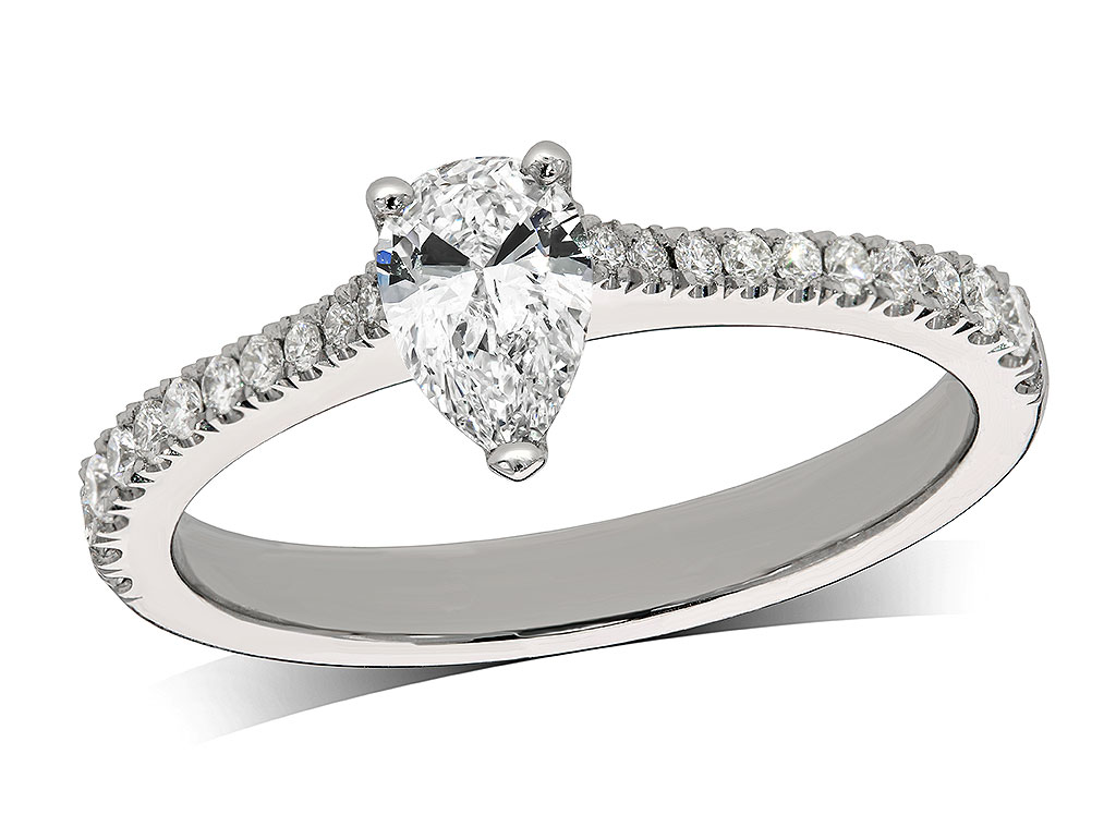 Platinum set single stone diamond engagement ring, with a certificated pear cut centre in a three claw setting, and diamond set shoulders. Perfect fit with a wedding ring. Total diamond weight: 0.64ct.
