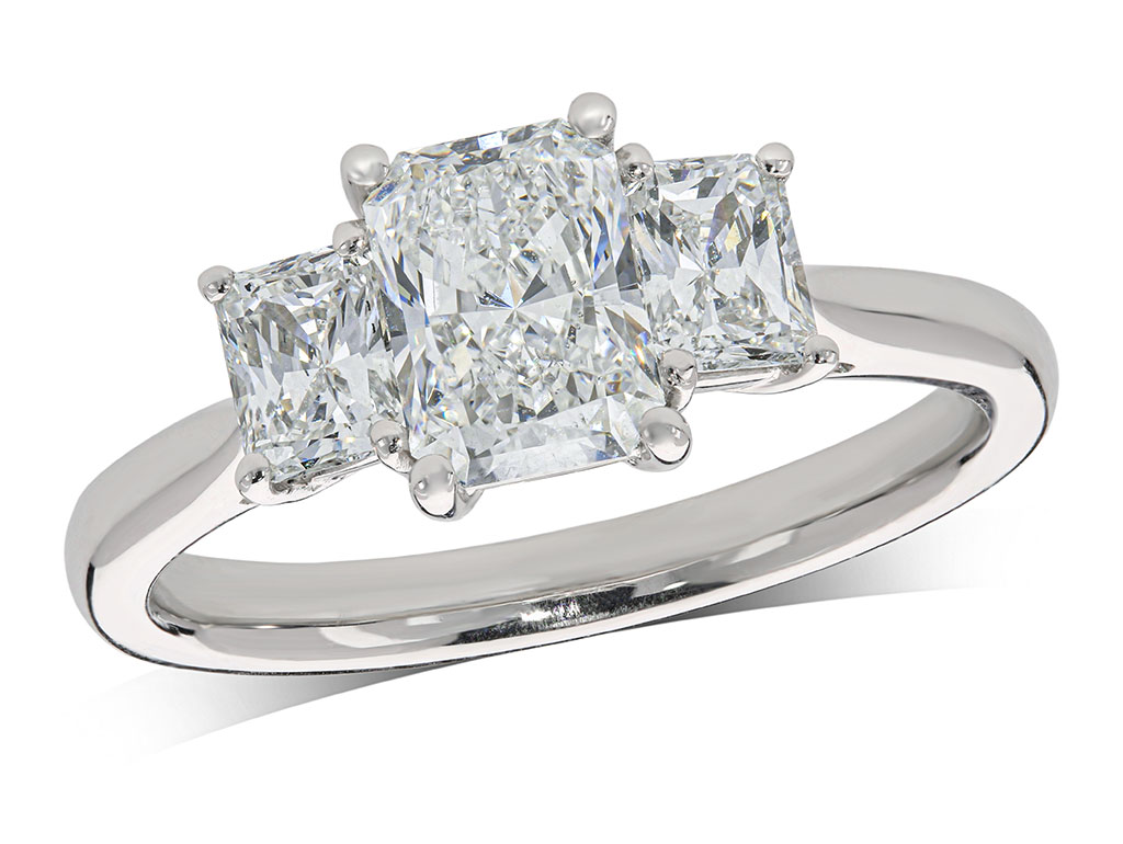 Platinum set three stone diamond engagement ring, with a certificated radiant cut centre in a four claw setting, and one radiant cut on each shoulder. Perfect fit with a wedding ring. Total diamond weight: 1.68ct.
