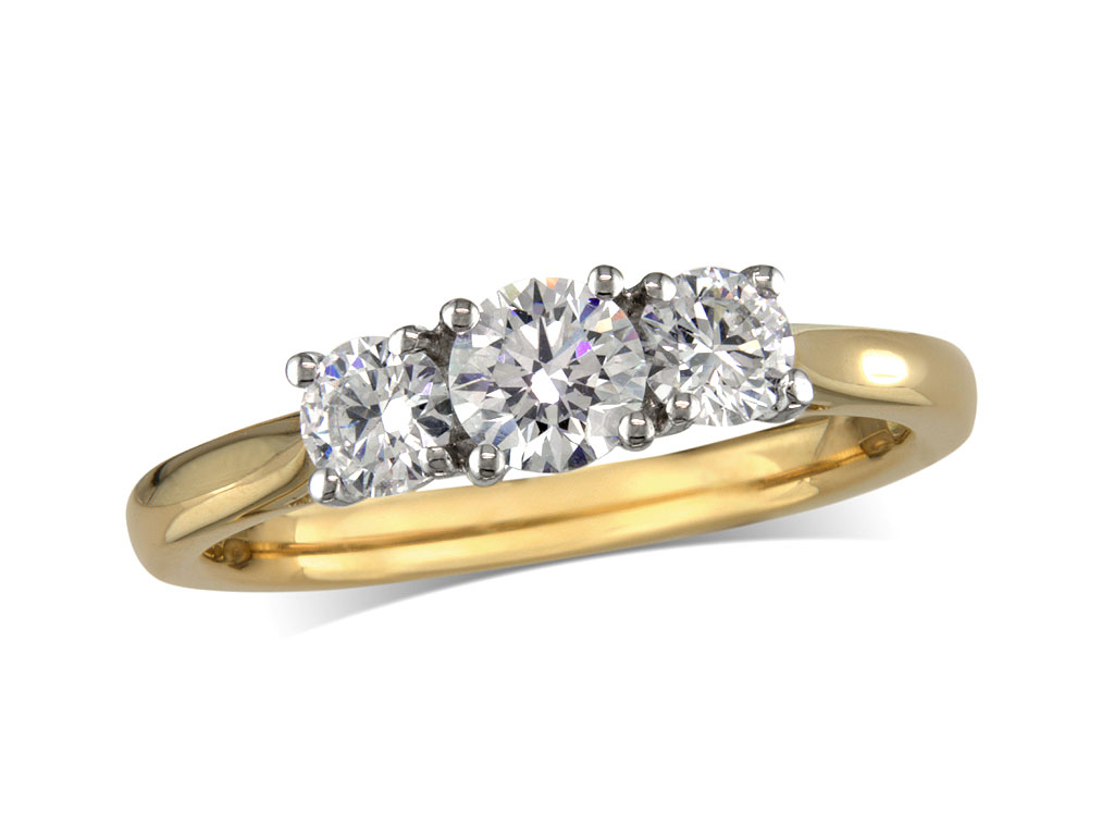 18 carat yellow gold set three stone diamond engagement ring, with a certificated brilliant cut centre in a four claw setting, and one brilliant cut on each side. Perfect fit with a wedding ring. Total diamond weight: 1.00ct.