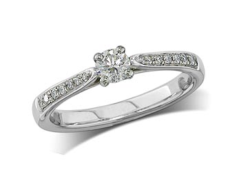 A 0.24ct centre, Brilliant, D, Single stone diamond ring. You can buy online or reserve online and view in store at Michael Jones Jeweller, Banbury