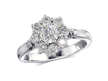A 0.41ct centre, Brilliant, F, Cluster diamond ring. You can buy online or reserve online and view in store at Thurlow Champness, Bury St Edmunds