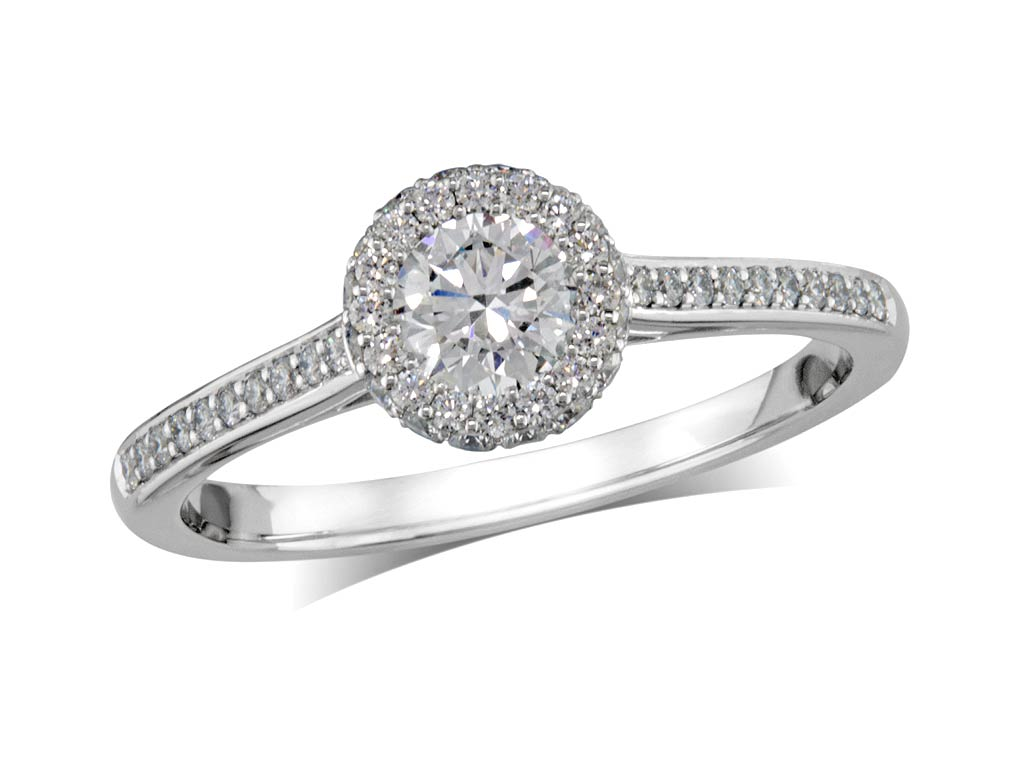 A 0.50ct centre, Brilliant, F, Cluster diamond ring. You can buy online or reserve online and view in store at Jamieson and Carry, Aberdeen