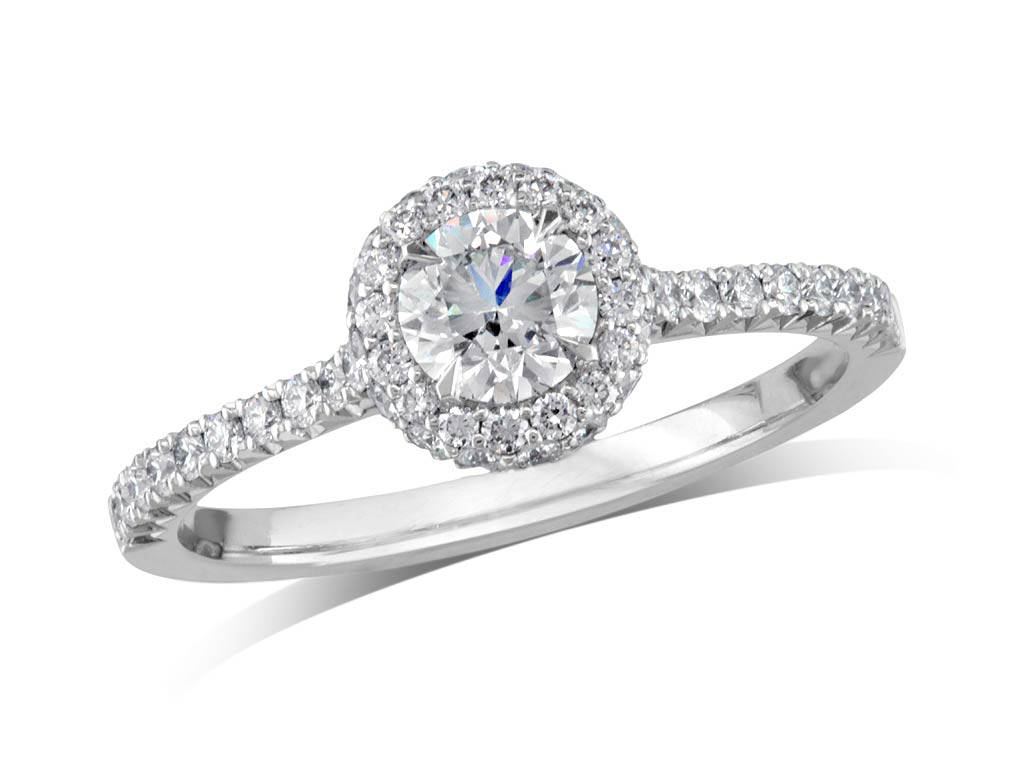 A 0.51ct centre, Brilliant, F, Cluster diamond ring. You can buy online or reserve online and view in store at Jamieson and Carry, Aberdeen