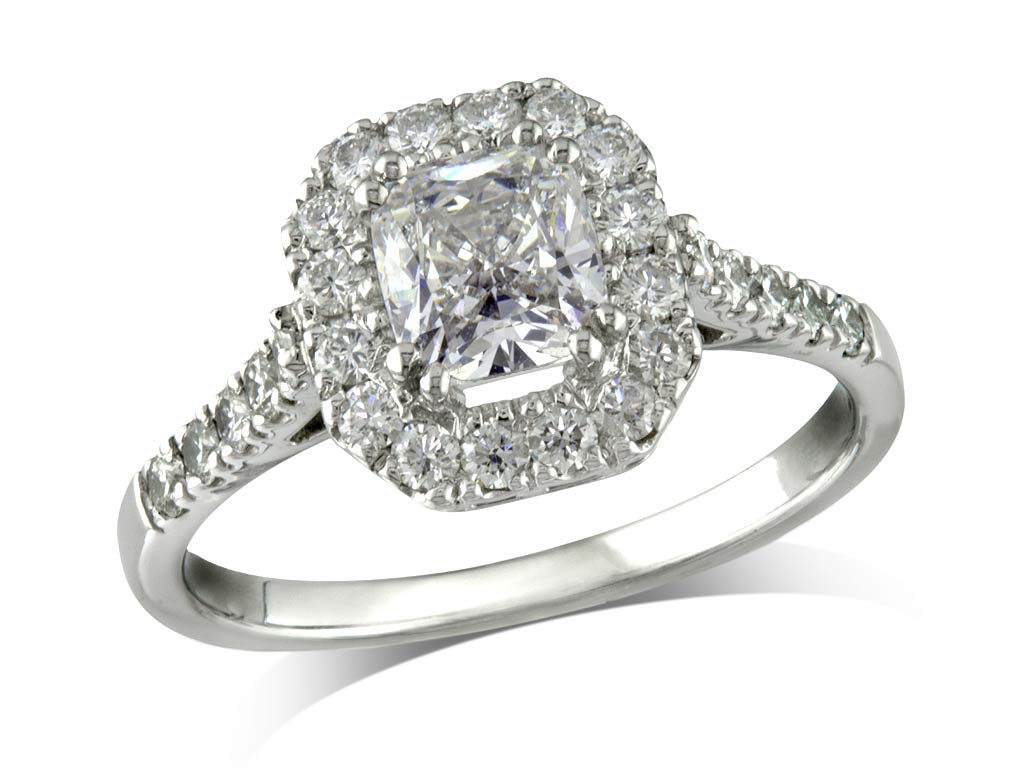Platinum set diamond cluster engagement ring, with a certificated cushion cut centre in a claw setting, with a surrounding diamond set bezel and diamond set shoulders. Total carat weight: 2.29ct.