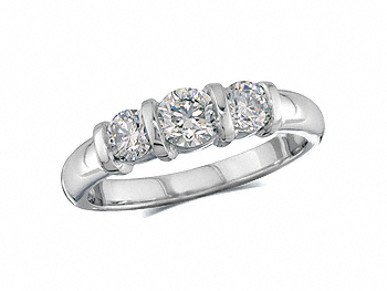 Platinum set three stone diamond engagement ring, with a certificated brilliant cut centre in a bar setting, and one brilliant cut on each shoulder. Total diamond weight: 0.79ct.