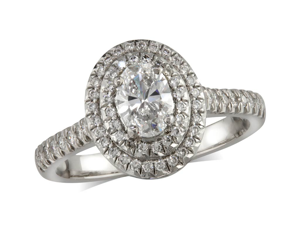A 0.50ct centre, Oval, D, Cluster diamond ring. You can buy online or reserve online and view in store at Jamieson and Carry, Aberdeen