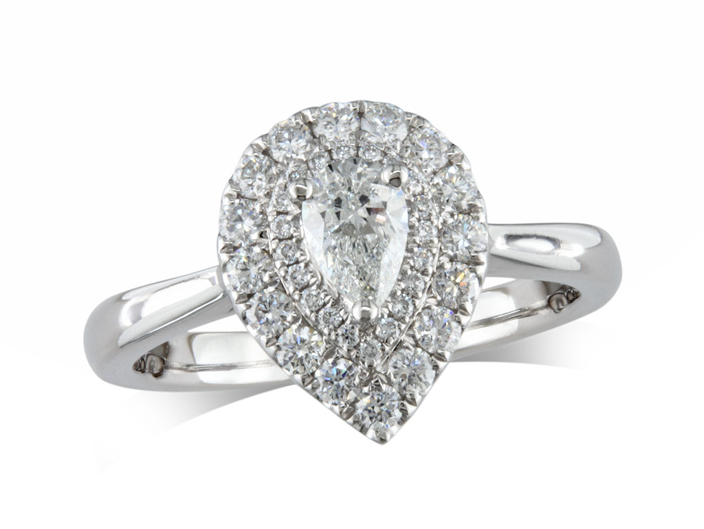 Platinum diamond cluster engagement ring, with a certificated pear cut centre in a three claw setting, with a surrounding double row diamond set bezel. Total cluster diamond weight: 0.73ct.