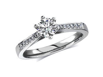 A 0.30ct centre, Brilliant, F, Single stone diamond ring. You can buy online or reserve online and view in store at Jamieson and Carry, Aberdeen