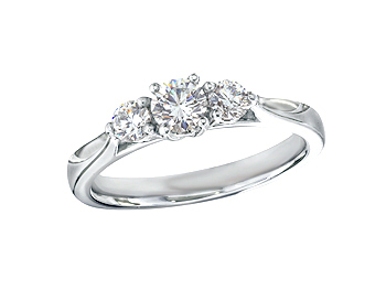 Platinum set three stone diamond engagement ring, with a certificated brilliant cut centre in a four claw setting, and one brilliant cut on each shoulder. Total diamond weight: 0.50ct.