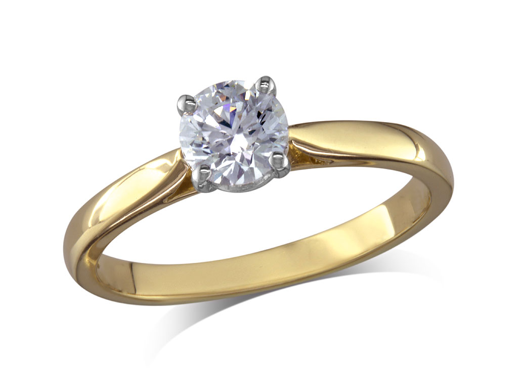 18ct yellow gold set single stone diamond engagement ring, with a certificated brilliant cut, in a four claw setting.