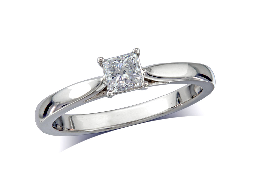 A 0.25ct, Princess, E, Single stone diamond ring. You can buy online or reserve online and view in store at Jamieson and Carry, Aberdeen