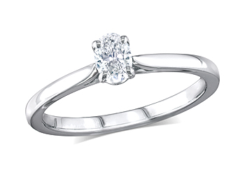 Platinum set single stone diamond engagement ring, with a certificated oval cut, in a four claw setting. Perfect fit with a wedding ring.