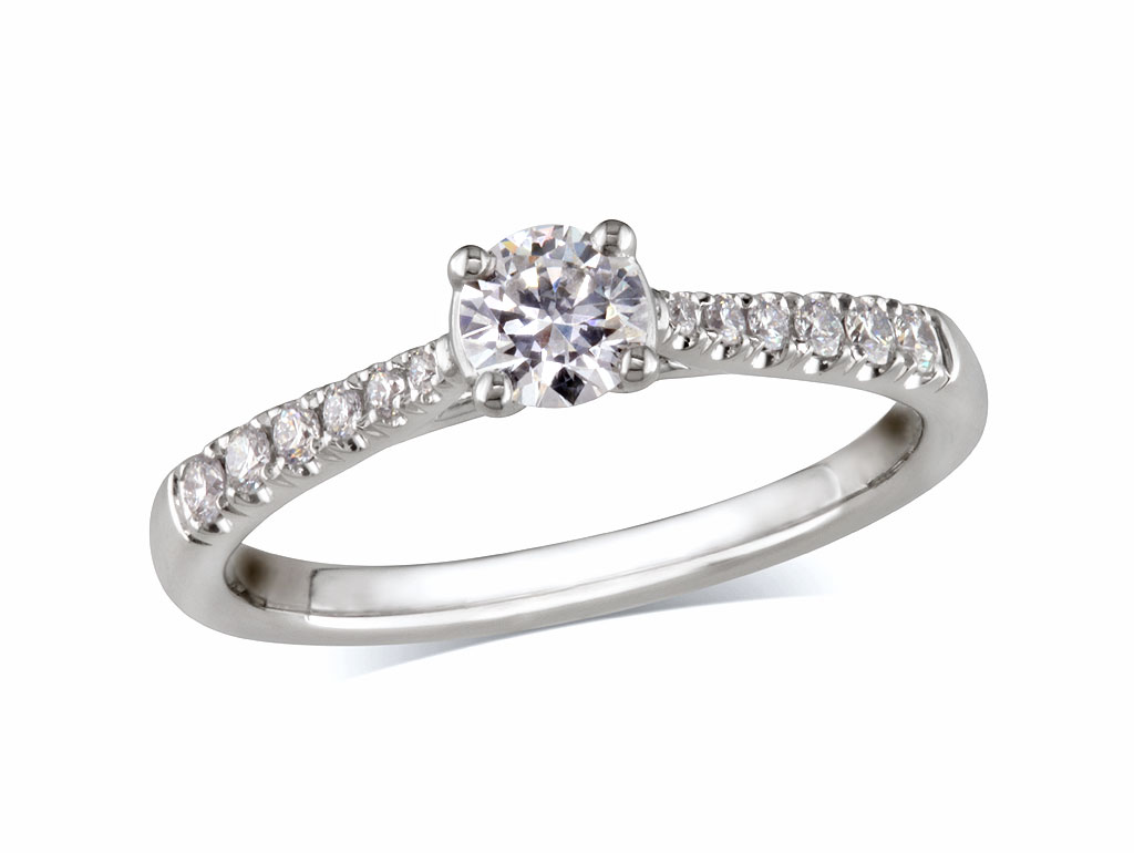 Platinum set single stone diamond engagement ring, with a certificated brilliant cut centre in a four claw setting, and diamond set shoulders. Perfect fit with a wedding ring. Total diamond weight: 0.45ct.