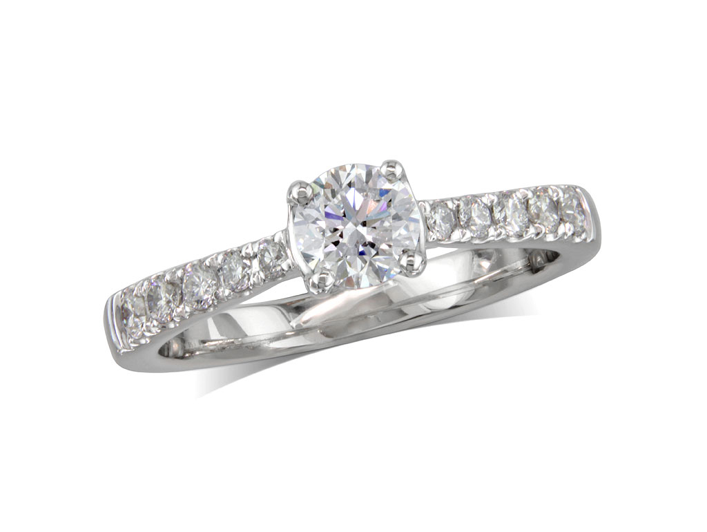 Platinum set single stone diamond engagement ring, with a certificated brilliant cut centre in a four claw setting, and diamond set shoulders. Perfect fit with a wedding ring. Total diamond weight: 0.66cts