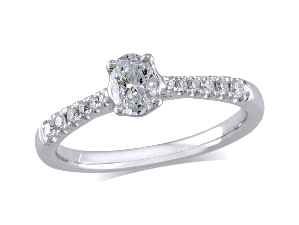 Platinum set single stone diamond engagement ring, with a certificated oval cut centre in a four claw setting, and diamond set shoulders. Perfect fit with a wedding ring. Total diamond weight: 0.44ct.