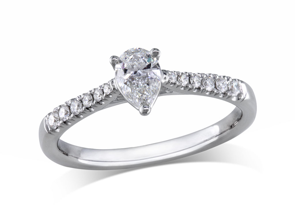 A 0.31ct centre, Pear, F, Single stone diamond ring. You can buy online or reserve online and view in store at Jamieson and Carry, Aberdeen