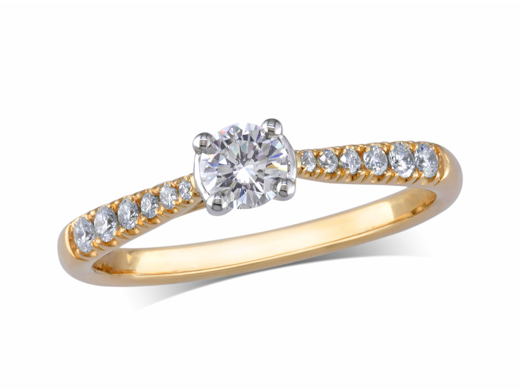 18 carat yellow gold set single stone diamond engagement ring, with a certificated brilliant cut centre in a four claw setting, and diamond set shoulders. Perfect fit with a wedding ring. Total diamond weight: 0.38ct.