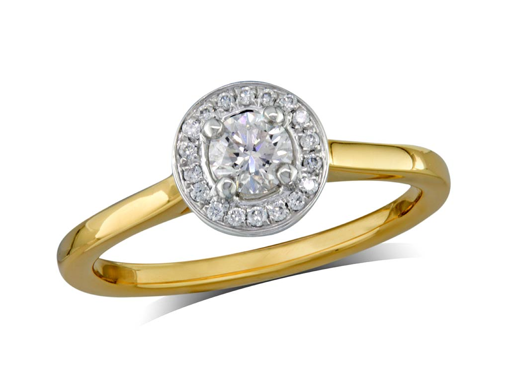 A 0.30ct centre, Brilliant, E, Cluster diamond ring. You can buy online or reserve online and view in store at Michael Jones Jeweller, Banbury