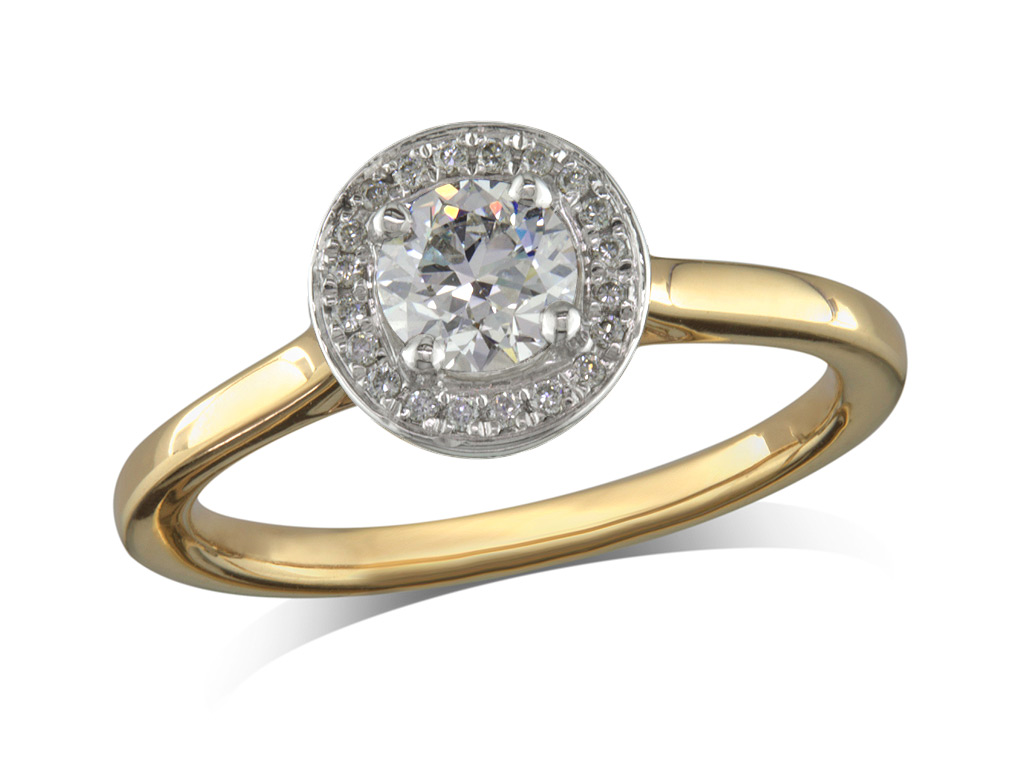 18 carat yellow gold set diamond engagement ring, with a certificated brilliant cut centre in a four claw setting, surrounded by a diamond set cluster. Perfect fit with a wedding ring. Total diamond weight: 0.47ct.