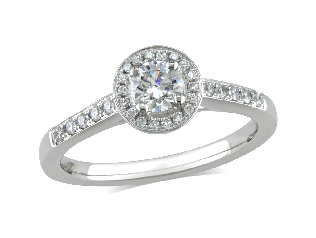 A 0.33ct centre, Brilliant, F, Cluster diamond ring. You can buy online or reserve online and view in store at Michael Jones Jeweller, Banbury