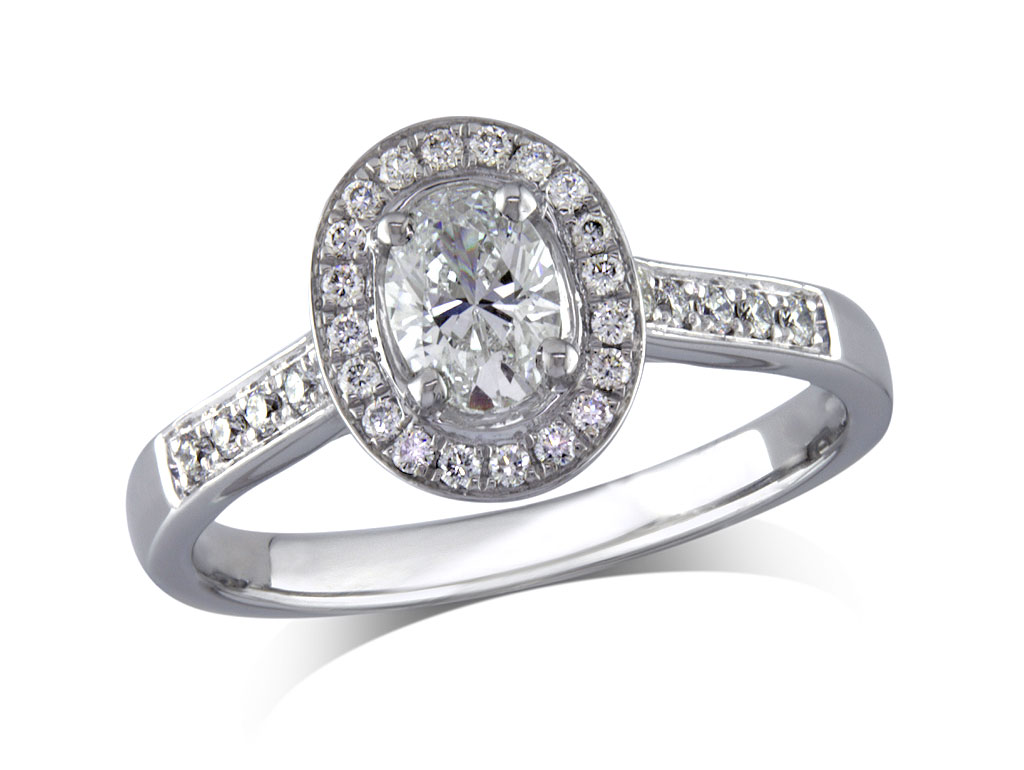 A 0.45ct centre, Oval, G, Cluster diamond ring. You can buy online or reserve online and view in store at Jamieson and Carry, Aberdeen