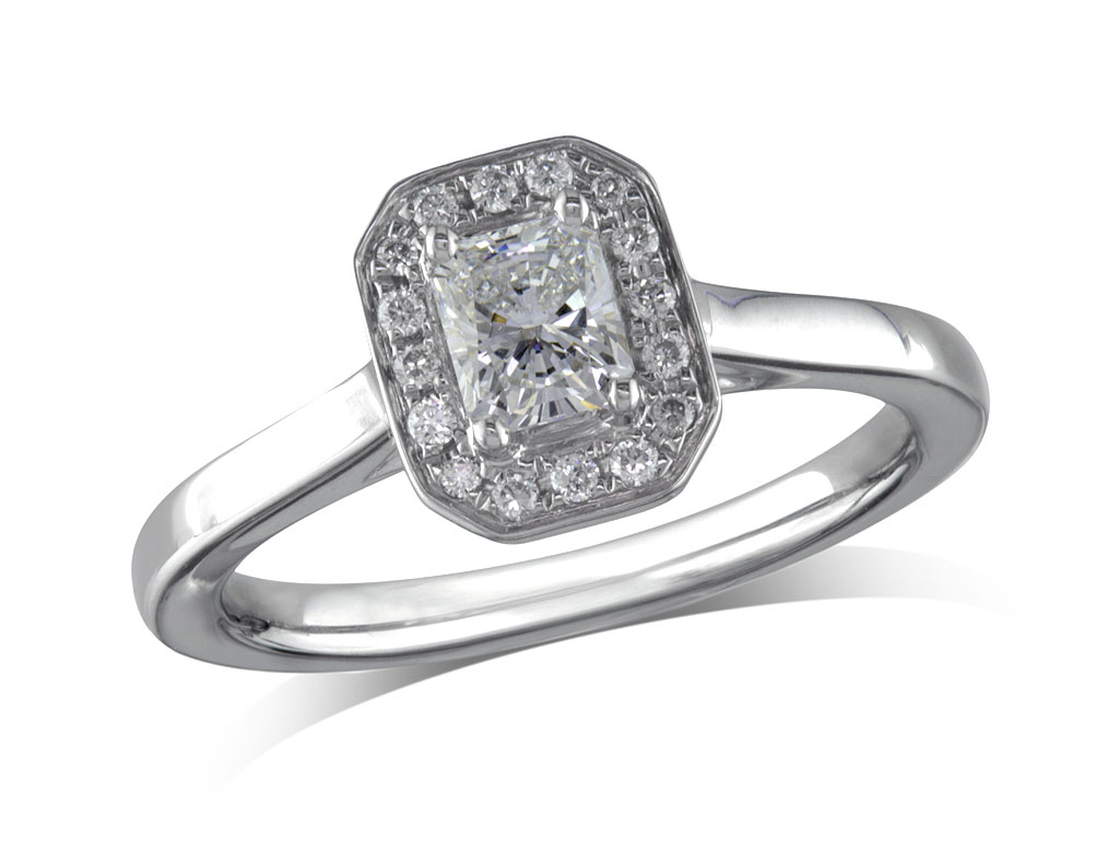 A 0.38, Radiant, G, Cluster diamond ring. You can buy online or reserve online and view in store at Thurlow Champness, Bury St Edmunds