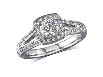 A 0.50ct centre, Brilliant, G, Cluster diamond ring. You can buy online or reserve online and view in store at Michael Jones Jeweller, Grosvenor Northampton