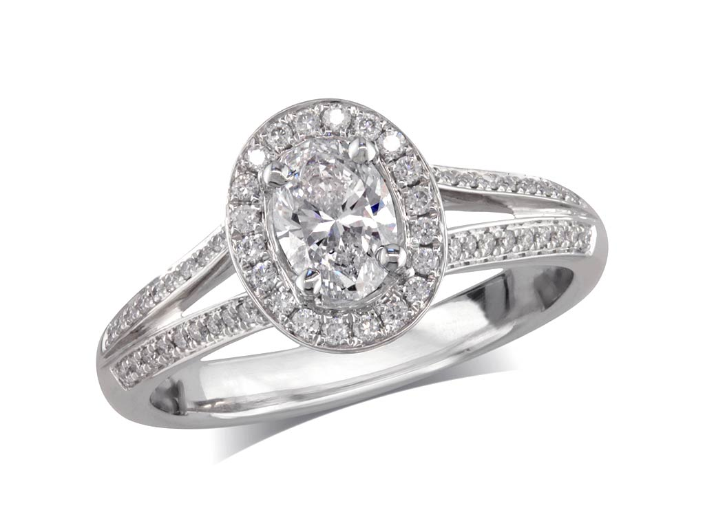 A 0.40ct centre, Oval, F, Cluster diamond ring. You can buy online or reserve online and view in store at Jamieson and Carry, Aberdeen